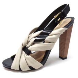 L.A.M.B. Shoes High Heels Black Beige Leather 8.5M